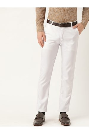 SOJANYA Men White Smart Slim Fit Solid Formal Trousers