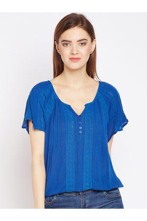 Oxolloxo Women Blue Self Design Top