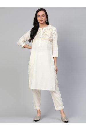 Sangria Women Off-White & Golden Yoke Design Kurta with Trousers