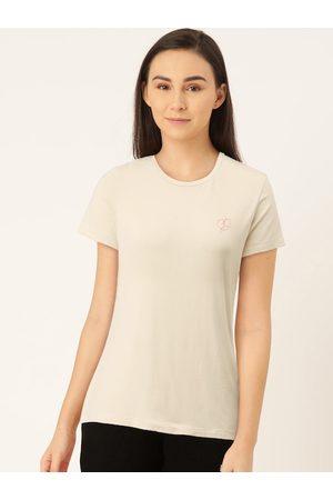 Sweet Dreams Women Beige Solid Slim Fit Lounge T-Shirt