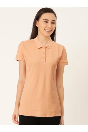 Sweet Dreams Women Coral Orange Solid Polo Collar Lounge T-Shirt