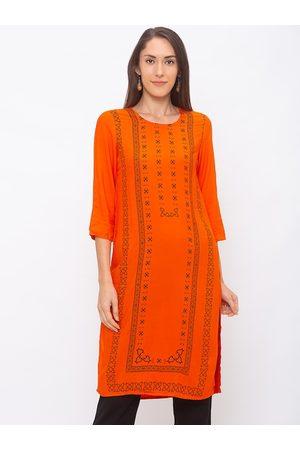Globus Women Orange & Black Printed A-Line Kurta
