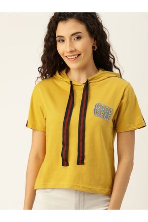 Campus Women Mustard Yellow Solid Regular Top with Applique Detail