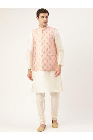 SOJANYA Men Off-White & Pink Solid Kurta & Churidar with Woven Design Nehru Jacket