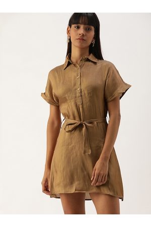 Campus Women Brown Solid Fit and Flare Dress