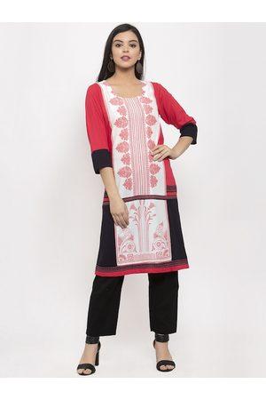 Aujjessa Women Pink & White Printed Straight Kurta