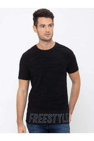 Globus Men Black Printed Round Neck T-shirt