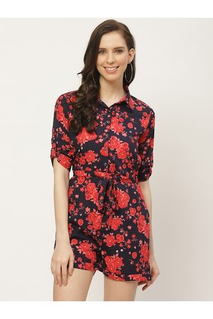 Cottinfab Women Navy Blue & Red Floral Printed Waist Tie-Up Playsuit
