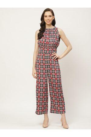 Cottinfab Women Grey & Red Geometric Printed Basic Jumpsuit