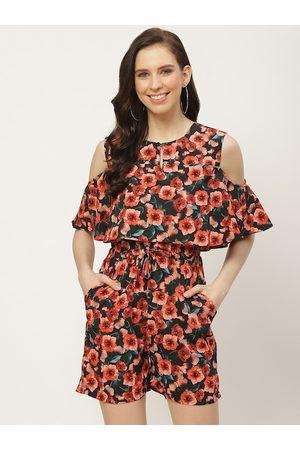 Cottinfab Women Black & Red Floral Printed Layered Cold Shoulder Playsuit