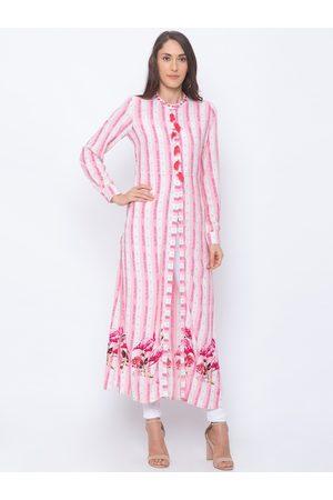 Globus Women Pink & White Striped A-Line Kurta