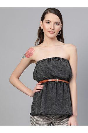 Sassafras Women Charcoal Grey Washed Strapless Top