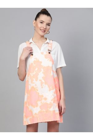 Sassafras Women Cream-Coloured & Coral Pink Dyed Pinafore Dress