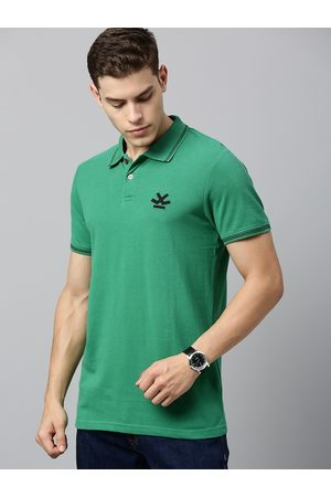 WROGN Men Green Solid Slim Fit Polo Collar T-shirt
