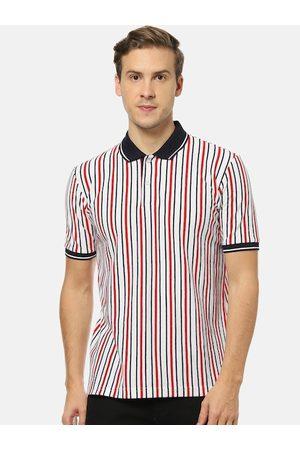 Campus Men White & Black Striped Polo Collar T-shirt