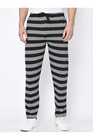 VIMAL JONNEY Men Black & White Striped Track Pants