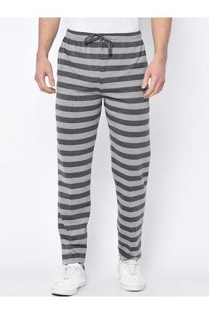 VIMAL JONNEY Men Grey & White Striped Track Pants