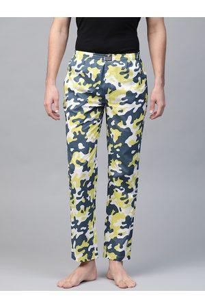 Hubberholme Men Navy & Lime Green Camouflage Print Lounge Pants