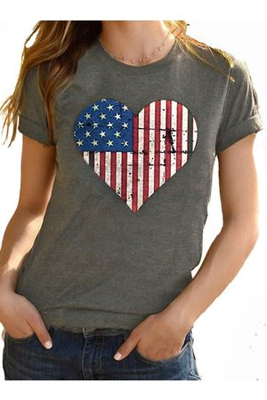 YOINS Heart Print With Red Stripes & Stars Crew Neck Short Sleeves Tee