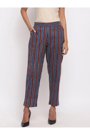 FABNEST Women Multicoloured Relaxed Straight Leg Regular Fit Printed Regular Trousers