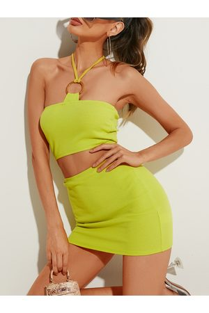 YOINS Self-tie Design Halter Sleeveless Two Piece Outfit