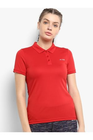 Alcis Women Red Solid Polo Collar T-shirt