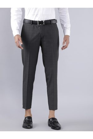 Highlander Men Charcoal Grey Solid Slim Fit Formal Trousers