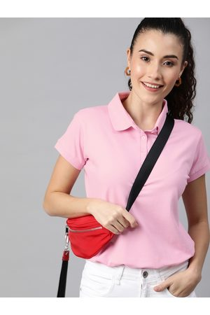 HERE&NOW Women Pink Solid Polo Collar T-shirt