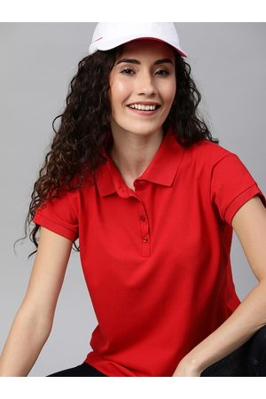 HERE&NOW Women Red Solid Polo Collar T-shirt