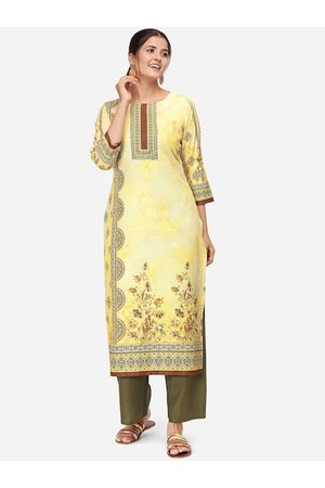 Kvsfab Women Yellow & Olive Green Printed Kurta with Palazzos