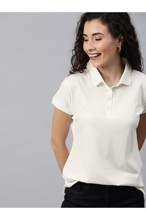 HERE&NOW Women White Solid Polo Collar T-shirt