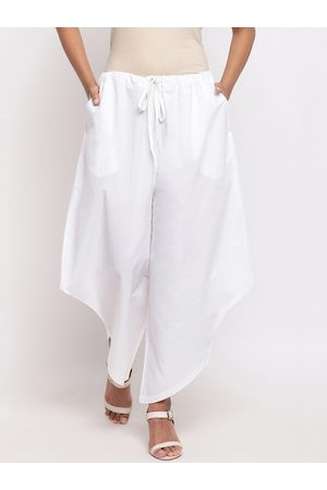 FABNEST Women White Relaxed Regular Fit Solid Parallel Trousers
