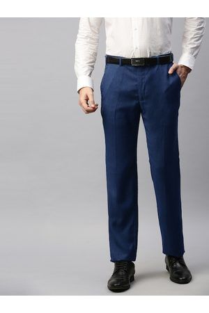 Park Avenue Men Blue Slim Fit Solid Formal Trousers