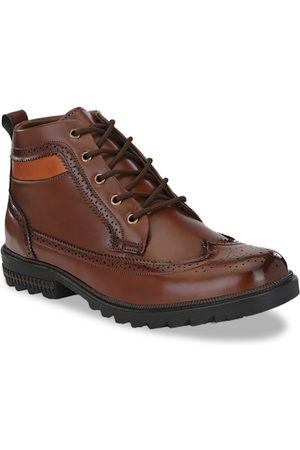 Sir Corbett Men Brown Solid Synthetic High-Top Flat Boots