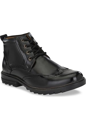 Sir Corbett Men Black Solid Mid-Top Flat Boots
