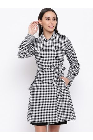 FABNEST Women Black & White Checked Trench Coat