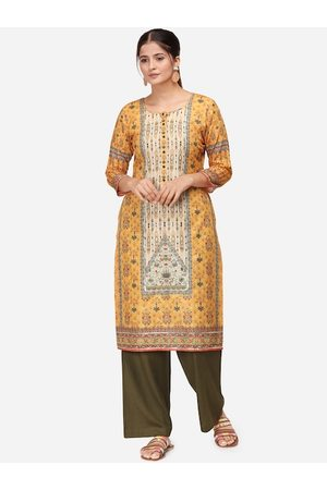 Kvsfab Women Mustard Yellow & Olive Green Floral Printed Kurta with Palazzos