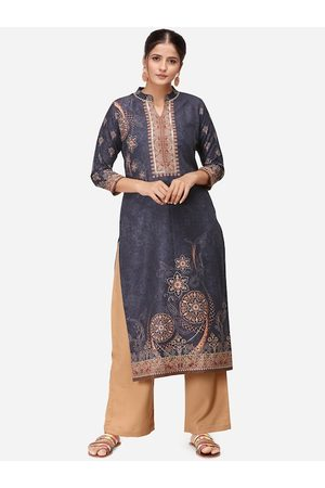Kvsfab Women Black & Beige Printed Kurta with Palazzos