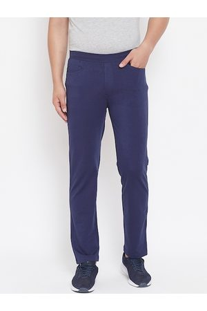 Okane Men Blue Solid Slim-Fit Track Pants