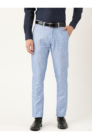 SOJANYA Men Blue & Off-White Smart Regular Fit Checked Formal Trousers