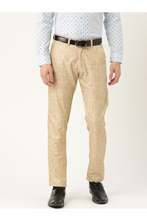 SOJANYA Men Beige & White Smart Fit Checked Formal Trousers