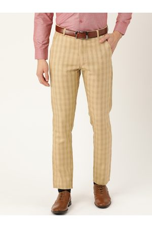 SOJANYA Men Beige Smart Regular Fit Checked Formal Trousers