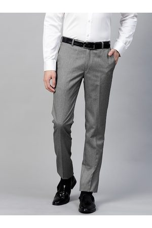 MANQ Men Grey & White Slim Fit Striped Formal Trousers