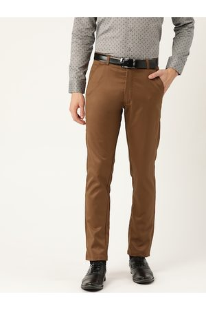 SOJANYA Men Brown Smart Regular Fit Solid Formal Trousers