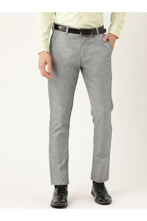 SOJANYA Men Grey Smart Regular Fit Solid Formal Trousers