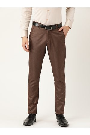 SOJANYA Men Coffee Brown Smart Regular Fit Solid Formal Trousers