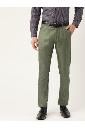 SOJANYA Men Olive Green Smart Regular Fit Solid Formal Trousers