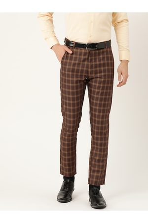 SOJANYA Men Coffee Brown & Beige Smart Regular Fit Checked Formal Trousers