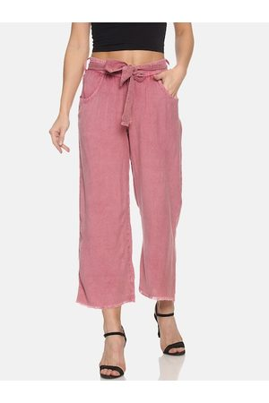 Campus Women Pink Relaxed Flared Solid Regular Trousers