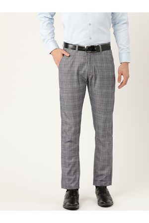 SOJANYA Men Navy Blue & Off-White Smart Regular Fit Checked Formal Trousers